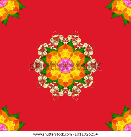 hand drawn vector mandala with colored abstract pattern on a red orange and yellow