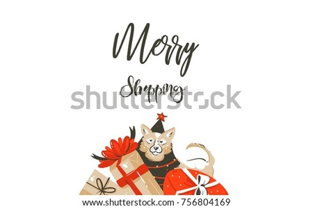 Hand drawn vector Merry Christmas shopping time cartoon graphic simple greeting illustration logo design with dog,many surprise gift boxes and calligraphy Merry Shopping isolated on white background. #756804169