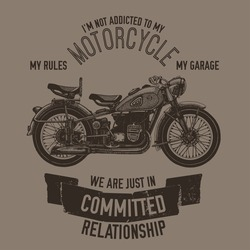 Hand drawn vector motorcycle quote