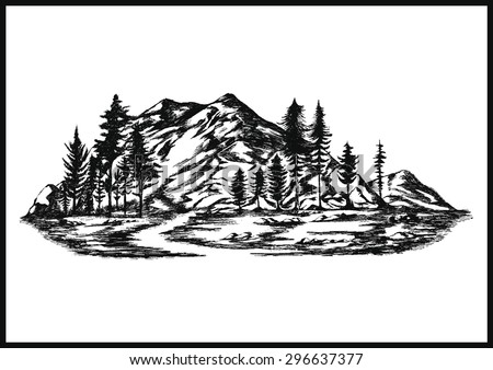 hand drawn vector mountain