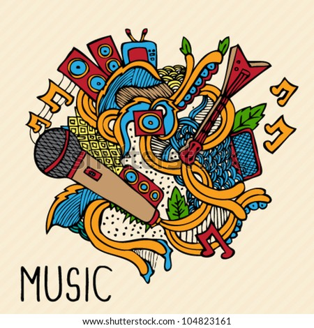 Hand Drawn Vector Music Doodle Illustration