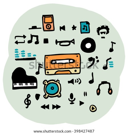 hand drawn vector music icon