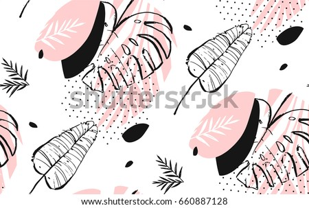 Hand drawn vector of an abstract graphic artistic freehand textured tropical palm leaves seamless pattern in pink pastel colors with polka dots texture.