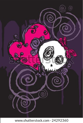 Hand drawn vector of an Emo valentine character on grunge background