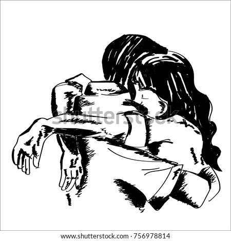 hand drawn vector of couple hug
