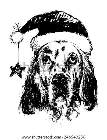 ff286e6f13a hand drawn vector of English setter with christmas hat on white background