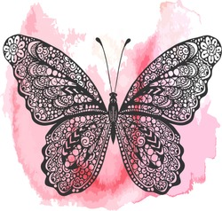 Hand drawn vector ornate butterfly illustration. Doodle butterfly drawing on the watercolor background