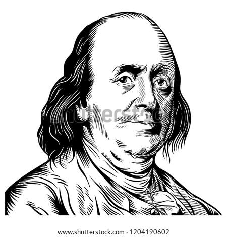 Hand drawn vector portrait. Benjamin Franklin. Stock photo ©