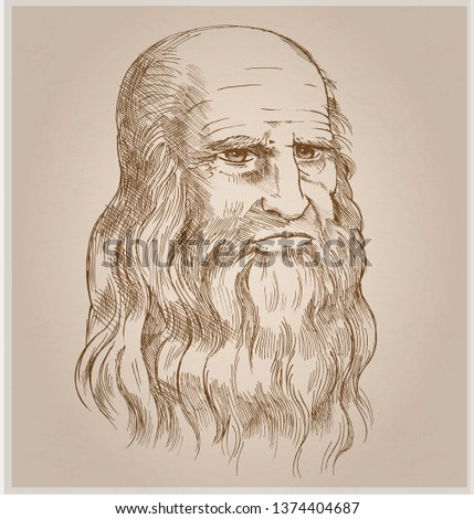 Hand drawn vector portrait on paper background.Leonardo Da Vinci