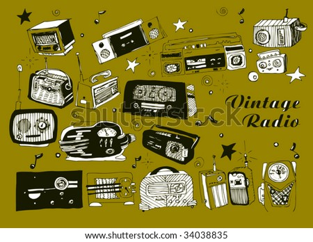 Hand drawn vector radios