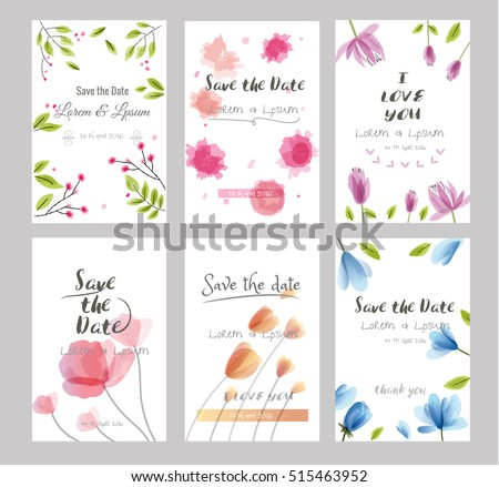 Free vector invitation cards with watercolor flowers download hand drawn vector save the date set watercolor invitation template with flowerctor illustration stopboris Image collections