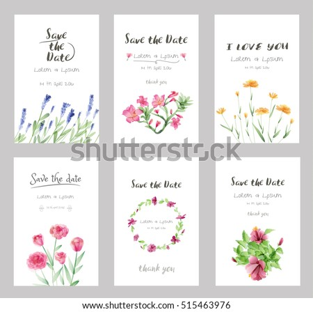 Flores de primavera e vero de aquarela download vetores e hand drawn vector save the date set watercolor invitation template with flowerctor illustration stopboris Images