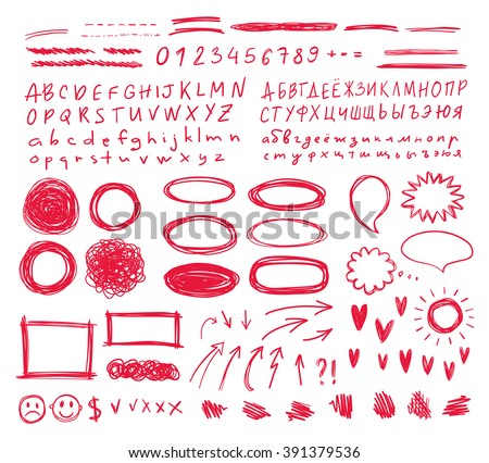 hand drawn vector scribbles set