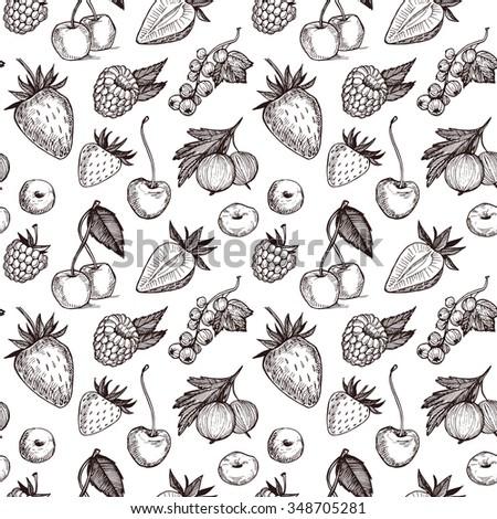 Hand drawn vector seamless pattern - Collection of berries (raspberries, strawberries, cherries, gooseberries).