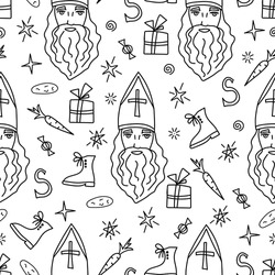 Hand-drawn vector seamless pattern in black outline. Saint Nicholas Day, Sinterklaas. Traditional holiday. Christmas, New Year's design, shoes, carrots, star. For wrapping paper print, textile product