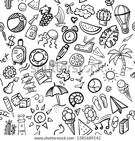 Hand drawn vector seamless pattern of summer and holiday doodle elements.