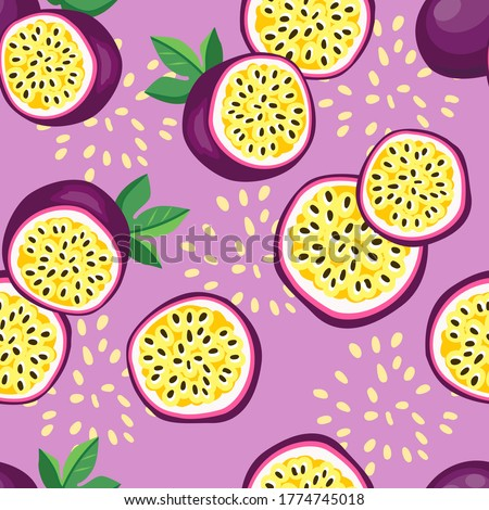 Hand drawn vector seamless pattern passion fruit. Print design for fashionable textile. Fruit trendy summer fabric.