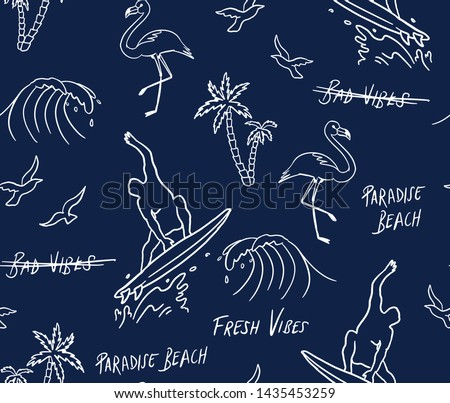 Hand drawn vector seamless pattern. Surfer, palm trees, flamingo,  waves and slogan texts.