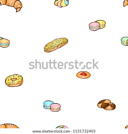 Hand drawn vector seamless pattern with croissant, macaroons, biscuits, eclair and donut. Good for wrapping paper, wallpapers at cafe, coffee shop, bakery or confectionery