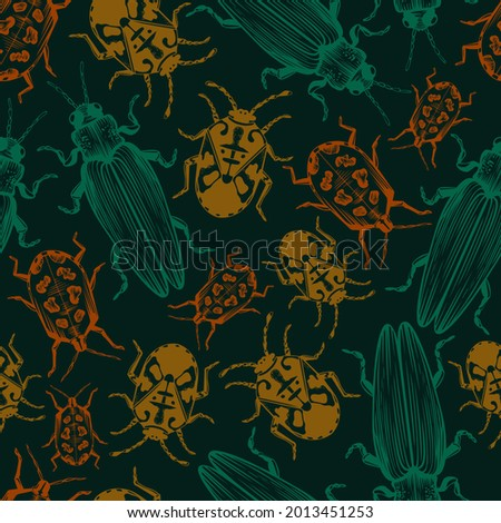 Hand drawn vector seamless pattern with tropical beetles and bugs. Jewel beetle, fire bug and hibiscus harlequin bug