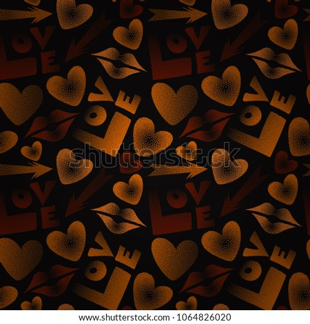 Hand drawn vector seamless pattern with XOXO in black, orange and brown colors. Hipster symbols of arrow, hearts, kissing lips, love text. Good for cards, posters, wrapping paper.