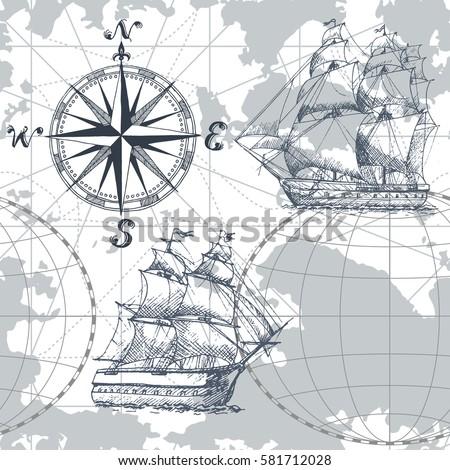 hand drawn vector seamless sea...