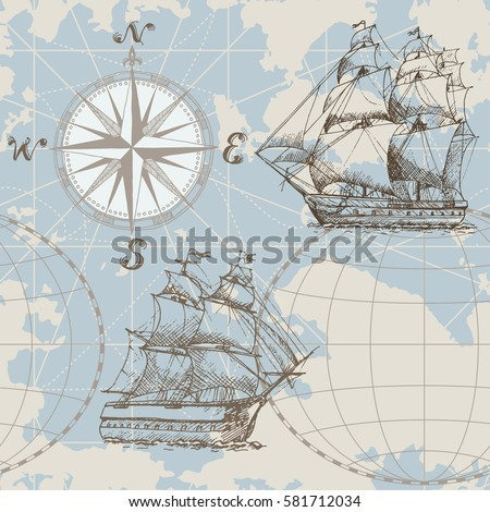hand drawn vector seamless sea