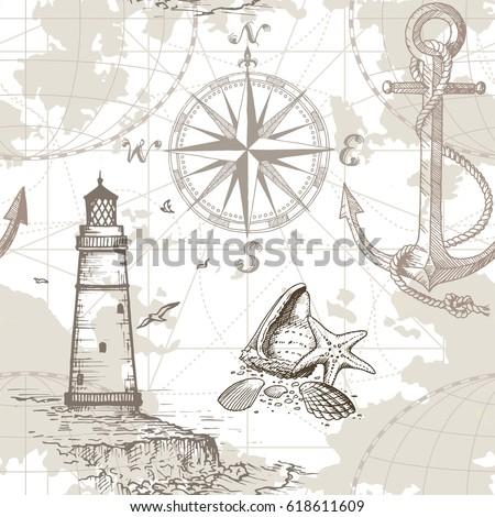hand drawn vector seamless sea