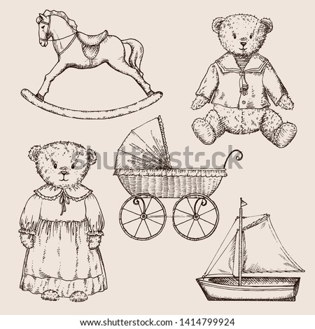 Hand drawn vector set  in vintage style. Vintage toys: bear, doll, pram, horse and boat. Perfect for kids decor. Photo stock ©