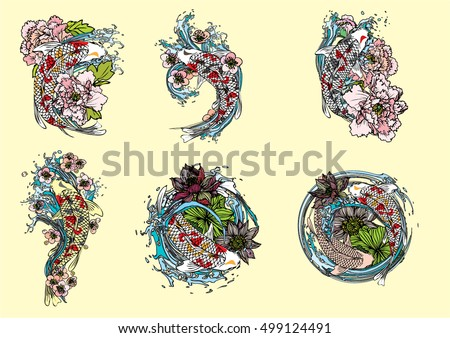 hand drawn vector set koi with