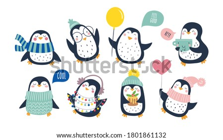 Hand drawn vector set of cute funny penguins. Trendy colored cartoon illustration. Christmas cute penguin characters