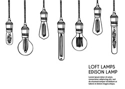 Hand drawn vector set of different geometric loft lamps. Edison lamps and modern  sketch. Vintage light bulbs doodle art hanging free hand line style vector