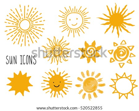 Hand drawn vector set of different suns icons isolated on white.