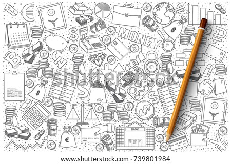 Hand drawn vector set of finance doodles