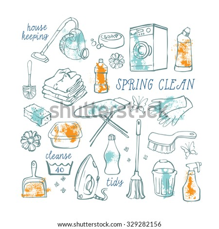Hand drawn vector set of household cleaning icons