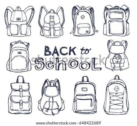 Hand drawn Vector Set of Sketch Doodle Backpacks. Casual Backpack, Fashion Backpack. Vector illustration. Back to school.