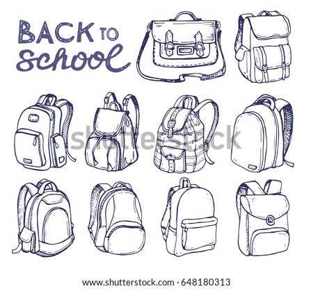 Hand drawn Vector Set of Sketch Doodle Backpacks. Casual Backpack, Vector illustration. Back to school.