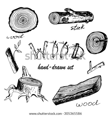 hand drawn vector set with wood ...