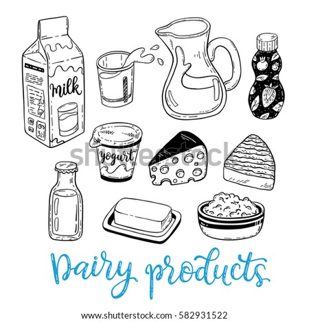 hand drawn vector sketch Dairy products set