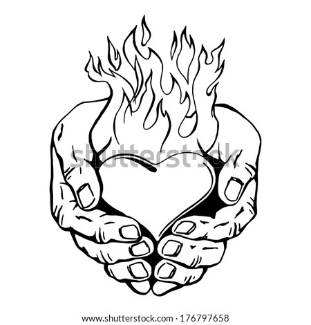Hand drawn vector sketch illustration of flaming heart for Coloring pages of hearts on fire