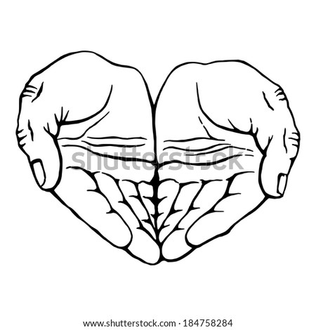 hand drawn, vector, sketch, illustration of hands