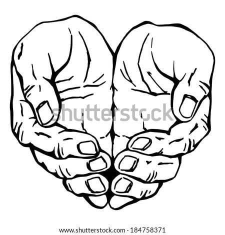 hand drawn, vector, sketch illustration of hands, hands folded scoop