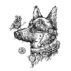 Hand drawn vector sketch of mechanical dog. Steampunk style illustration. Symbol of 2018 new year. Us for Invitations, flyers, postcards, smartphone covers etc