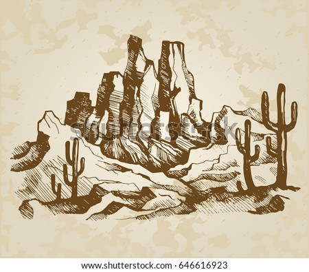 Hand-drawn vector sketch. Typical landscape of Arizona, State of America. Mountains and cactuses on a background old paper.