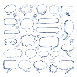Hand drawn vector speech bubbles copy space