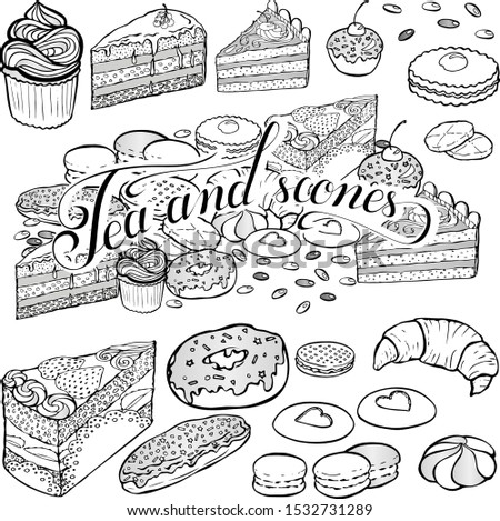 Hand drawn vector sticker pack with piece of cake, macaroons, biscuits, cupcake and Tea Party lettering. Good for cafe, coffee shop, bakery or confectionery
