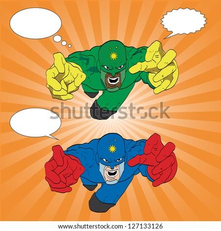 Hand drawn vector superhero