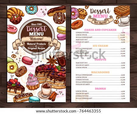 Hand drawn vector template of menu with desserts, sweets and bakery products. Design with sketch cake, cupcake, donuts, macaroons, muffins, waffle, croissant for café