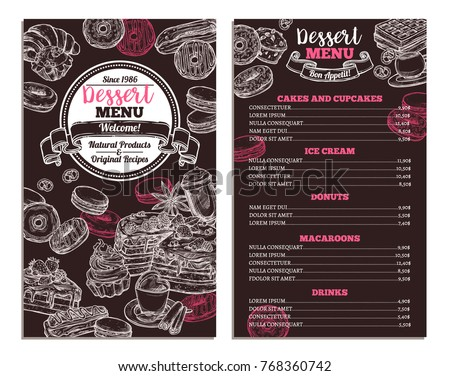 Hand drawn vector template of menu with desserts, sweets and bakery products. Trendy design on chalkboard with sketch cake, cupcake, donuts, macaroons, muffins, waffle, croissant for café