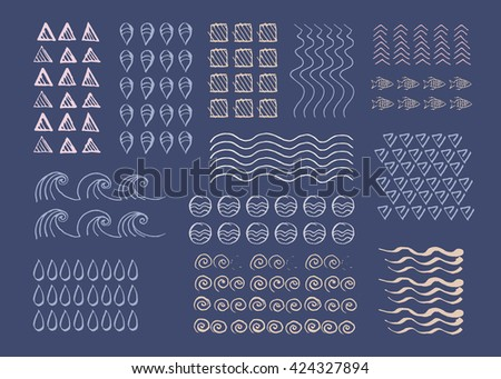 Hand drawn vector texture, pattern, line, objects. Collection of hand drawn templates. Lines, arrows, geometric objects, waves, round object. Elements in nautical style.